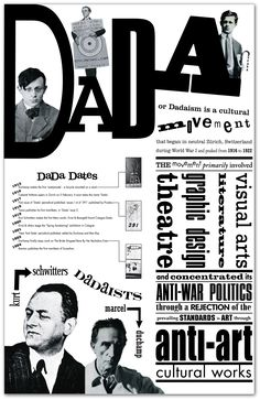 Week A poster on the Dada movement that I found very appealing. I like the use of typography throughout. Its simple and clear. Tristan Tzara, Art History Lessons, Art Lessons, Dada Artists, Dada Collage, Dada Movement, Hans Richter, Photomontage, Tv Movie