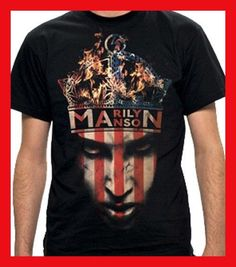 FL AEVVE MARILYN MANSON Crown T SHIRT Brand New Official T Shirt camiseta  rayas negras y blancas ebec6e4c8d648