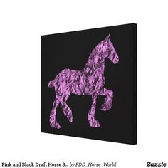 Pink and Black Draft Horse Silhouette Canvas Print