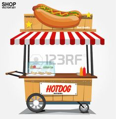 hotdogs stand: hot dog street cart