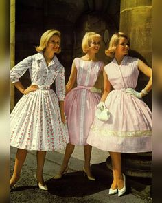 Beautiful British summer fashion of 🌸 ❤️ 💃🏻 😍 💐 ☀️ 👗 Pink Outfits, Retro Outfits, Vintage Outfits, Vintage Fashion, Sixties Fashion, Vintage Style Dresses, Modern Outfits, Rock, Pretty Dresses