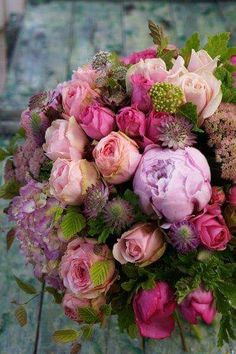 Stunning variety of pink and lilac shades with roses and peonies and hydrangeas .a true summer bouquet arrangement Beautiful Flower Arrangements, Fresh Flowers, Spring Flowers, Floral Arrangements, Beautiful Flowers, Spring Flower Arrangements, Exotic Flowers, Diy Flowers, Deco Floral