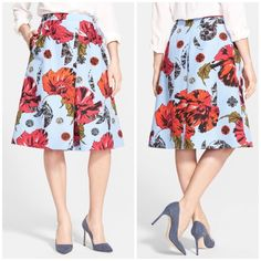 """Classiques Entier silk blend floral skirt An explosive poppy print amps up the charm of a skirt cut from a finely ribbed weave of cotton and silk. The flared silhouette is enhanced with an inverted front pleat. - 26 1/2"""" length  - Hidden back zip closure - Side-seam pockets - 76% cotton, 24% silk Bundle for even bigger savings! Offers welcome. No trades. Classiques Entier Skirts A-Line or Full"""