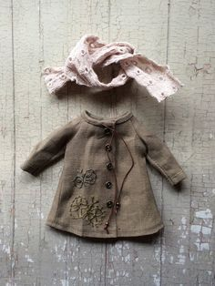 Linen Parka Coat for Blythe butterfly set by moshimoshistudio