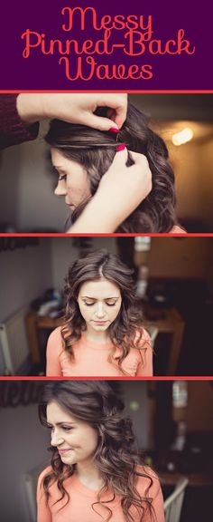 Easy Wedding Hairstyles - Stay-In-All-Day Boho Waves - RMW Pinning it just at the sides rather than Diy Hairstyles, Pretty Hairstyles, Style Hairstyle, Updo Hairstyle, Prom Hairstyles All Down, Famous Hairstyles, Simple Wedding Hairstyles, Fashion Hairstyles, Homecoming Hairstyles