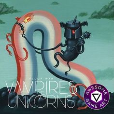 """Join the Light side! """"VAMPIRES vs. UNICORNS: Floor War"""" is a hillariously fun THROWING CARD game with unexpected results, featuring fantastic hand painted tile art by @TravisLampe (#unicorns ) and @TravisLouie (#vampires ) suitable for frameing! ........."""