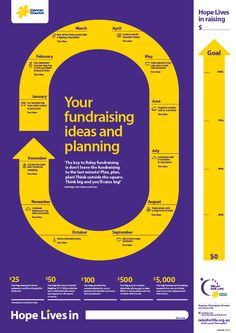 "Newcastle/Lake Macquarie Relay For Life 2014 ""Your Fundraising Ideas & Planning Thermometer"" poster"