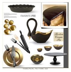 """The Black Swan: Boston Cream Pie"" by theseapearl ❤ liked on Polyvore featuring interior, interiors, interior design, home, home decor, interior decorating, L'Objet, Emile Henry, Tom Dixon and Cutipol"