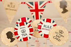 INSTANT DOWNLOAD Printable British Cupcake Toppers DIY Jubilee decorations via Etsy