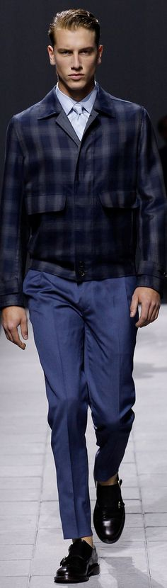 Brioni  Menswear  Spring | Men's Fashion & Style | Blue Pants/Trousers, Plaid Bomber Jacket, Dress Shirt and Necktie | Luxury Casual | Moda Masculina | Shop at designerclothingfans.com