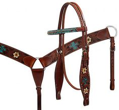 Filigree Cross Painted Headstall and Breast Collar Set