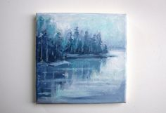 This is an small original acrylic painting of a lake  The painting is on a 8 x 8 / 20 x 20 cm canvas.  I wrap my paintings up just like a present. This painting will ship in a protective bubble mailer.   https://www.instagram.com/marleenart/