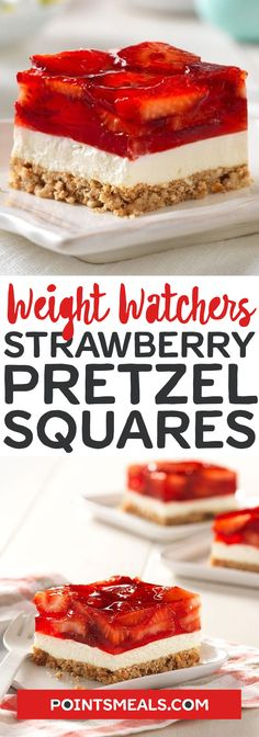 Strawberry Pretzel Salad Squares #weight_watchers #dessert #Strawberry