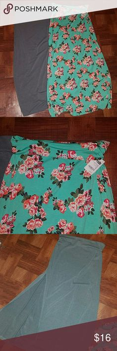 Long Maxi Skirts (bundle) Great Maxi skirts for the summer! Multi color skirt is NWT and Grey one is NWOT. Both skirts have a split on both sides. Light weight will go great with a cute top!! 95% Rayon 5% spandex selling together. Charlotte Russe Skirts Maxi