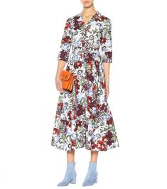 Pleated Floral-print Silk Crepe De Chine Dress - Ivory Gucci fMLF3370
