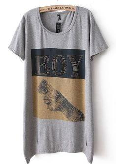 Grey Short Sleeve BOY Print Loose T-Shirt