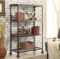 Look at this Furniture of America Medium Oak Four-Shelf Display Case on today! Large Bookshelves, Bookshelves In Bedroom, Bookcase Shelves, Metal Shelves, Display Shelves, Display Case, Bookcases, Book Shelves, Bookshelf Ideas