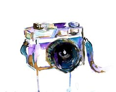 I Turn My Camera On by Jessica Buhman 8 x 10 print of original watercolor painting, Photography Camera Painting by ArtbyJessBuhman on Etsy https://www.etsy.com/listing/175801642/i-turn-my-camera-on-by-jessica-buhman-8