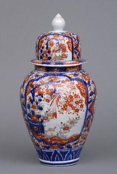 Early Japanese Imari Vase and Lid, Circa 1720 Japanese Vase, Japanese Porcelain, Ceramic Decor, Flowering Trees, Red And Blue, Pottery, Antiques, Japanese Things, Egg Shell