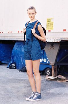 Look #1: Chambray + Backpack + Sneakers | How To Wear A Romper This Summer via @WhoWhatWear