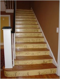Glazed Chinoiserie Design on Stair Risers by Faux Real in Florence, SC. Absolutely gorgeous!