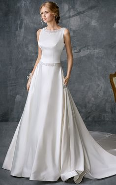 Kenneth Winston Style A-Line wedding dress, available in Ivory/Silver (Pictured) - White/Silver. Made of Beaded Empbroidery Pattern/Pearl Satin. Available in Size 2 to 28 or with your own custom measurements for a bespoke fit. Wedding Dresses Lds, Bridesmaid Dresses With Sleeves, Wedding Dress With Pockets, Wedding Dress Styles, Designer Wedding Dresses, Bridal Dresses, Wedding Suits, Wedding Attire, Bridesmaids