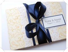 navy and yellow wedding guest book