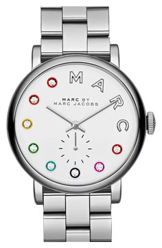 A classic watch gets a fun, playful update with pops of bright color and sparkling crystal indexes | Marc Jacobs.
