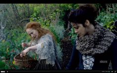 Lotte Verbeek as Geillis Duncan wearing her mossy cape.   Costume designer TERRY DRESBACH   Outlander on Starz