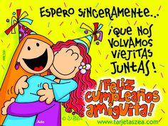 Amigas por siempre-Tarjeta de cumpleaños-Ada abrazada con su mejor amiga © ZEA…