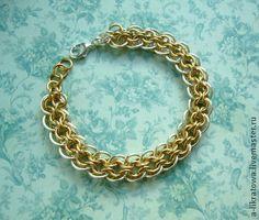 """Браслет """"Аттика"""" - серебряный,золотой,кольчужное плетение,chainmaille"""