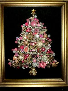 Costume Jewelry christmas Tree Framed Pink rhinestones Home Decor Holiday decoration ornament 10x12