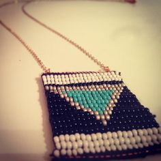Silver and #turquoise #geometric #pendant!