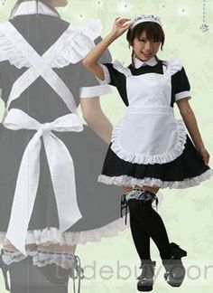 White And Black Cosplay Cotton Lolita Dress