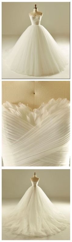 Strapless A line Tulle Wedding Dresses 2017 Simple Long Custom Wedding Gowns A