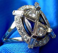 GIA Appraised Antique Sapphire European Diamond Vintage Engagement ring signed