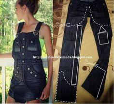 Ideas to Refashion Old Jeans Free Templates - Repurpose Old Jeans DIY ideje i prenamjena Star JeansDIY ideje i prenamjena Star Jeans Refaçonner Jean, Jean Diy, Jeans Refashion, Diy Clothes Refashion, Fashion Wear, Denim Fashion, Artisanats Denim, Jeans Recycling, Robe Diy