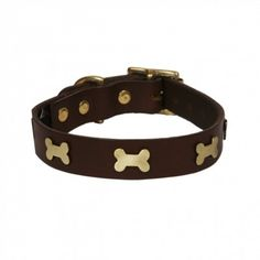 Leather Dog Collar Brass Bones Chocolate.  http://www.annabelchaffer.com/products/Leather-Dog-Collar-Brass-Bones-Chocolate.html