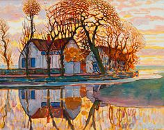 """Farm near Duivendrecht"" by Piet Mondrian, 1916"