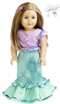 Lavender Flowers and Butterflies Night Gown Set For American Girl Doll
