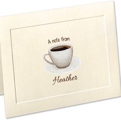 We just added this personalized stationery for the coffee lover in your life! This sketch is on embossed panel, linen stationery. You won't believe how awesome the texture is, yet it provides a smooth writing surface. Choose from many fonts/ink colors! Custom Stationery, Personalized Stationery, Personalized Note Cards, Ink Color, Teacher Gifts, Enchanted, New Baby Products, Envelope, How To Draw Hands