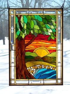 Colorful Tree Scene stained glass panel