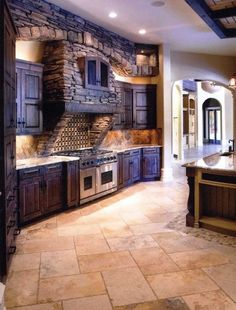 Stone kitchen love this! My dream kitchen (: Rustic Kitchen, New Kitchen, Kitchen Decor, Awesome Kitchen, Purple Kitchen, Vintage Kitchen, Kitchen Interior, Cozy Kitchen, Kitchen Country