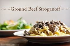 Ground Beef Stroganoff Recipe...     I just made it and it's good! I added extra garlic and a bit of worcestershire sauce to the browned meat and could've added more. Also used plain yogurt since I didn't have sour cream. YUM!