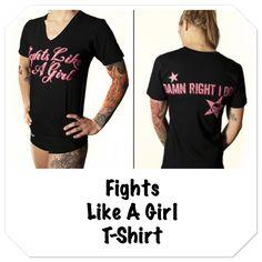 Product of the week...Fights Like A Girl T-Shirt.  Shop fightergirls.com. The 1st & original in women's MMA. Best quality & dedicated to the female warrior. Http://www.fightergirls.com/shop. #fightergirls #wmma #womensmma #fightwear #sportswear #training #crosstrain #BodyCombat #grappling #kickboxing #jiujitsu #gym #circuttraining