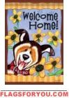 Welcome Home Garden Flag Welcome Home, Garden Flags, Home And Garden, Baseball Cards, Dogs, Doggies, Pet Dogs