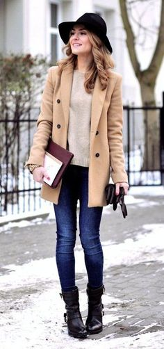 #preppy #fashion /  Camel Coat // Cream Knit // Skinny Jeans // Leather Ankle Boots // Black Hats