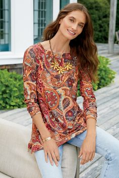 Discount Clothing, Crew Neck Shirt, Boho Tops, Clothes For Sale, Types Of Sleeves, Long Sleeve Tops, Paisley, How To Wear, Tops Online