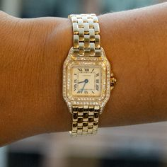 Yellow Gold with diamonds x 22 mm) ; White dial with Roman Numerals. Yellow Gold Panther bracelet with deployant buckle. Pre-owned with Cartier box and books. White Women, Ladies White, Tank Watch, Fine Watches, Square Watch, Panther, Bracelet Watch, Cartier Watches, Quartz