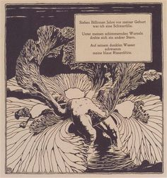Iris, an illustration by Koloman Moser for a poem by Arno Holz, 1898. Art Nouveau